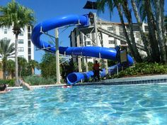 One of two water slides at River Island lazy river pool. Holiday Inn Club Vacations Orlando, Orange Lake Resort.