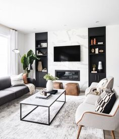 neutral modern living room with marble fireplace, black and white living room decor, Leclair Decor ( Living Room Modern, Home Living Room, Interior Design Living Room, Black And White Living Room Decor, Modern Room Decor, Cozy Living, Cool Living Room Ideas, Interior Livingroom, Modern Apartment Decor