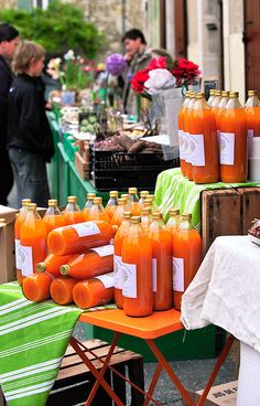 Apricot juice in a street market - Saoû, France
