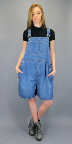44b26825819 Vintage GAP Overall Suspender Shorts Blue Jean Shortalls Bib Overalls Baggy  Oversized Industrial Denim Slouch Grunge Romper Jumper L XL
