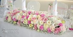 dekoracja sali Marmas Wedding 2015, Wedding Day, Diamond Decorations, Church Flower Arrangements, Altar, Floral Wreath, Wedding Inspiration, Wreaths, Pink