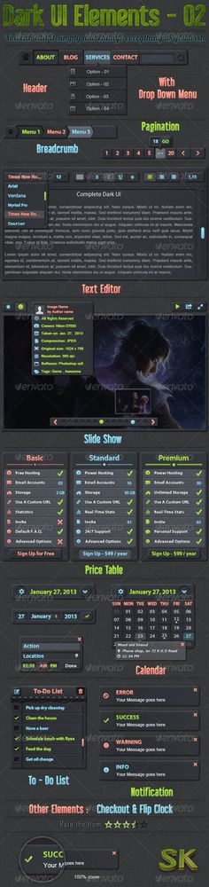 Dark User Interface Elements v.2 #GraphicRiver DESCRIPTION: This kit is needed for developers of web applications. Contains a necessary set of elements to make app. Only in PSD files. Elements can be combined. For example, replacing the the icons in Button can be made any other app you want. I am very grateful if you rate the file on your Downloads page at GraphicRiver. Feel free to contact me with any questions regarding the files. FEATURES: - Fully editable and customizable - Easy to…