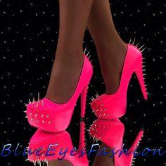 Neon+High+Heels | Details zu High Heels Neon Pink Pumps Luxus Plateau Sexy Partyschuhe ...