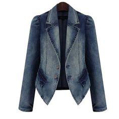 Women Denim Jacket Autumn Winter Vintage Oversize Loose Female Jeans Coat Solid Slim Chaquetas Mujer Jaqueta Feminina YL055