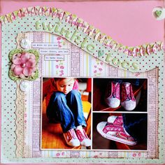 Cute Twinkle Toes Girl's Page...love the ruffled swirled edge!