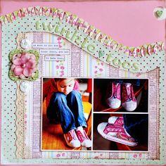 Cute Twinkle Toes Girl's Page...love the ruffled swirled edge!