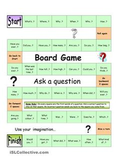 With this board game, students will practice asking questions. On each square, a question word or the beginning of a question is given. Students now ask the correct question, or else... Other students can then answer the question (either chosen at random or by the ´asker´). Especially suitable for smaller groups. (For bigger groups you could print more copies and split the class into groups, making sure to appoint a ´teacher´s assistant´). Have fun! - ESL worksheets