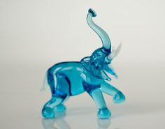 Glass Elephant Figurine Collectible Realistic by GlassFireBird