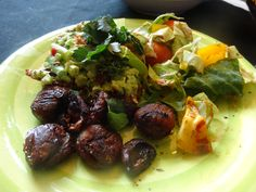 Gloriously good avocado toast with chestnuts and salad