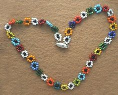 RETRO Love Seed Bead DAISY CHAIN necklace by PugcentricPursuits