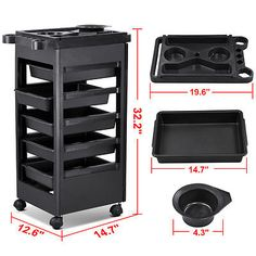 Salon Trolley Storage Cart Coloring Beauty Salon Rollabout Hair Dryer Holder