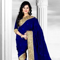 Blue net saree designed with resham, thread, stone and patch border work. Available with blue net blouse fabric, blouse shown in the image is just for photography purpose. (Slight variation in color is possible.)