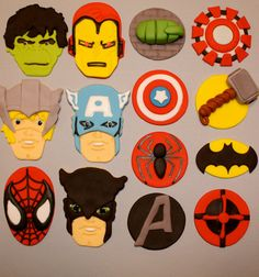 Cupcake, and cookie toppers - 1 dozen via etsy fondant cake toppers, fondan Spiderman, Batman, Fondant Cake Toppers, Fondant Cupcakes, Cupcake Toppers, Pavlova, Thor, Avenger Cupcakes, Avengers Cartoon