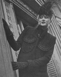 * Elsa Schiaparelli crescent motif jacket photographed for Vogue, September 15, 1938 by Regina Relang.