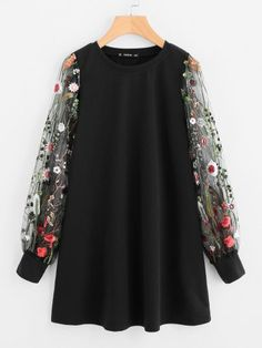 Cheap sweatshirt sweatshirt, Buy Quality casual sweatshirt directly from China long sleeve sweatshirt Suppliers: SHEIN Botanical Embroidered Mesh Sleeve Longline Pullover Elegant Black Long Sleeve Casual Fall 2017 Sweatshirts Mesh Long Sleeve, Long Sleeve Tops, Short Sleeve Dresses, Mode Abaya, Mode Hijab, Pullover Outfit, Hijab Look, Very Short Dress, Cosplay Dress