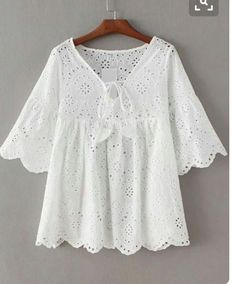 Shop White Bell Sleeve Self Tie Front Scallop Edge Hollow Blouse online. SheIn offers White Bell Sleeve Self Tie Front Scallop Edge Hollow Blouse & more to fit your fashionable needs. Mode Outfits, Casual Outfits, Diy Kleidung, Mode Top, African Dress, Mode Inspiration, Blouse Designs, African Fashion, Baby Dress
