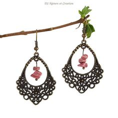 Shabby chic jewelry rhodonite earrings by DSNatureetCreation https://www.etsy.com/listing/275922216/shabby-chic-jewelry-rhodonite-earrings
