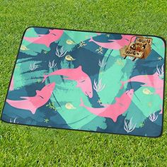 InterestPrint Custom Art Foldable Sea Creature Underwater Shark Beach Blanket Mat Picnic Blanket Outdoor Mat Camping Blanket 60 x 85 Inches for Traveling Hiking >>> Want to know more, click on the image.