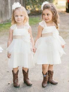 Hot Sale Absorbing Ivory Bridesmaid Dresses Adorable Ivory Short Tulle Flower Girl Dress Ivory Flower Girl Dresses, Bridesmaid Dress - MY World Flower Girl Dresses Country, Rustic Flower Girls, Cheap Flower Girl Dresses, Wedding Flower Girl Dresses, Girls Dresses, Pageant Dresses, Dress Wedding, Cheap Dresses, Party Dresses