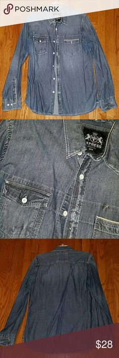 Express Denim Button Up Great condition. Express Shirts Casual Button Down Shirts