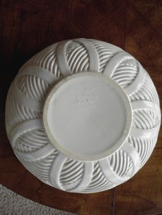Royal Hickman Ra Art Pottery carved Deco Geometric bowl (flipped over) fits the pedestal. Only one known existing example. Please contact nylesg@outlook.com or billtd@yahoo.com if you ever find one.