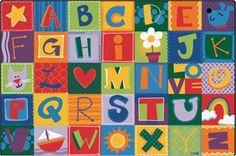 Nursery School Alphabet Blocks Rug 4' x 6'