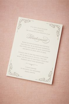 Bridesmaid Survival Card from BHLDN... My Coworker is getting this for her Sister (MOH) and Bridesmaids!! Hilarious!