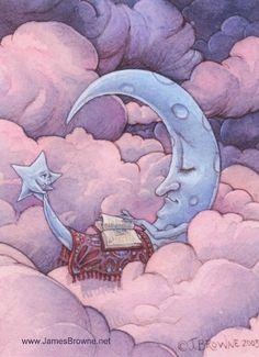 """""""The moon always reads before bedtime"""". bibliolectors:  La luna siempre lee antes de dormir (ilustración de James Browne)"""