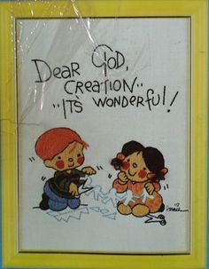 "Dear God Kids embroidery kit 6"" x 8"", Anne Fitzgerald, Stitchery Kit, $5.50 by FindersOfKeepers via Etsy  10733"