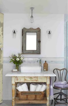 French cottage inspired bathroom vanity
