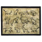 """$22.99 1'1"""" x 1'7"""" larger sizes available Found it at Wayfair - PB Paws & Co. Gold / Black Kitten Fun Tapestry Indoor/Outdoor Area Rug"""