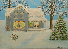 Winter, Christmas, Christmas Lights, Snow, House, Trees, ACEO Art Card, packrat-2013@ebay