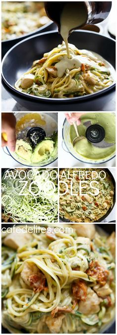 Avocado Alfredo Zoodles. A delicious no guilt dinner. Rich, thick and creamy thanks to an avocado 'alfredo' sauce wiout the use of any cream! Healthy fats, low in carbs, and absolutely delicious. | http://cafedelites.com