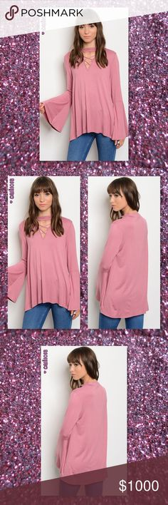 "JUST IN🆕Boho Choker Bell Sleeve Tunic New Mauve Mock Lace Up Neckline Long Bell Sleeve Tunic  Color: Mauve Made in USA Material: 96% RAYON 6% SPANDEX Size: Small, Medium, Large  Approx measurements taken from Small: Bust: 32"" Waist: 36"" Length: 27""   ⭐️⭐️SORRY NO TRADES AND LOWBALL OFFERS WILL BE IGNORED ⭐️⭐️  ✂️LOWBALL OFFERS WILL BE IGNORED✂️ Glam Squad 2 You Tops Tunics"