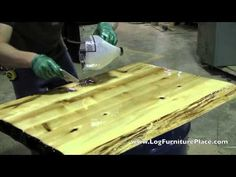 How Liquid Glass Finish Is Applied On Cabin Furniture At JHEu0027s Log  Furniture Place