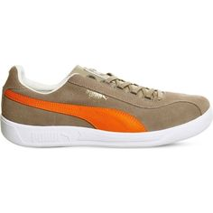 Puma Dallas suede trainers ($76) ❤ liked on Polyvore featuring shoes, sneakers, taupe orange, puma shoes, rubber sole shoes, sport shoes, lacing sneakers and puma sneakers