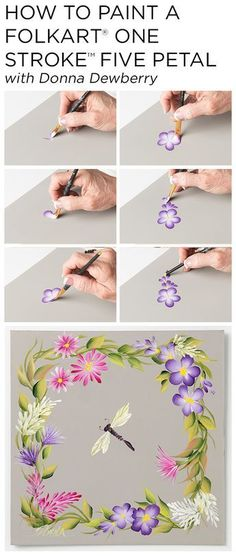 """Learn how to paint five petal flowers, trailing flowers, and ruffled flowers using a small palette of FolkArt Multi-Surface Acrylic paints and just a few brushes with Donna Dewberry's acclaimed """"One Stroke Painting"""" technique."""