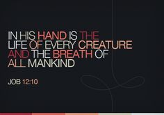 In His hand is the life of every creature and the breath of all mankind.