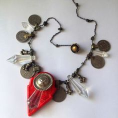 Tribal belly dance necklace with antique elements: kuchi coins, crystal points, red talhakimt (tanfouk)