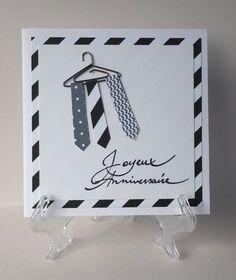 Carte Joyeux Anniversaire - 3 cravates et 1 cintre - Fond zébrures noires et blanches : Cartes par atelier-des-mille-cartes