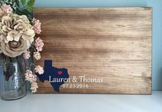 ***PLEASE NOTE current production times before ordering. ***  ~STATE LOVE DESIGN~ This is a great alternative for a guest book as the design can be customized with your personal information and color choices. Guests can easily sign on the real wood surface using Sharpie markers or various paint pens leaving you with a wonderful keepsake. Because this is an alternative guest book it does not have pages.  ~GUESTBOOK SIZES~ When choosing a size please keep in mind that most guests will sign as…