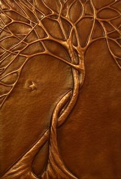 on copper by catrulz - this is probably made by using the chasing and repousse' technique or maybe by the embossing sheet metal technique which is a stamping process using a die or rollers Metal Tree Wall Art, Metal Art, Feuille Aluminium Art, Hot Glue Art, Glue Gun Crafts, Creation Art, Metal Embossing, Gun Art, Copper Art