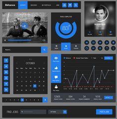 Behance Style Flat UI kit #ui,#template
