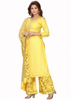 #yellow #embroidered #readymade #salwar #kameez #traditional #indian #salwar #suit #indianfashion #party #wear #collection #eid #2021 #ootd Gown Style Dress, Readymade Salwar Kameez, Chanderi Suits, Yellow Online, Latest Designer Sarees, Pakistani Suits, Yellow Fabric, Trouser Suits, Party Wear Dresses