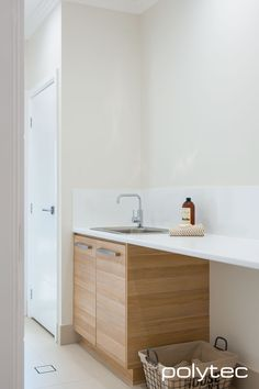 Doors in Natural Oak Ravine. Laminate benchtop in Classic White Matt. Best Picture For DIY Laundry station For Your Taste You are looking for something, and it is going to tell you exactly what you ar Laminate Benchtop, Bathroom Renovations Perth, House Renovations, Farmhouse Bathroom Accessories, Bathroom Fixtures, Bathroom Vanities, Bathrooms, Bathroom Tiling, Bathroom Photos