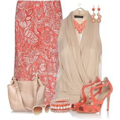 """""""Coral Floral Skirt"""" by maggie478 on Polyvore"""