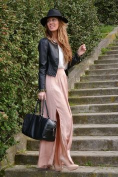 Blush maxi skirt and heels, white blouse, black leather jacket and bag, fedora.  LUV black and blush!