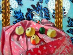 유 Still Life Brushstrokes 유 Nature Morte Painting by Henri Matisse   Still Life with Apples on Pink Cloth, 1925