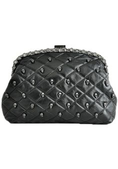 Awesome Black Rivet Skull Nylon Lining PU Leather Clutch Purse #skull #fashion
