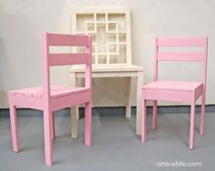 "Stackable Children's chairs ($4 each) - I think I need to make these for the nieces and nephews. I also think their names are going to get painted on the backs so they always have ""their chair"". Stack in the garage for when the kids aren't visiting."